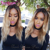 150Density 1B/#27 Blonde Ombre Lace Wig Glueless Full Lace Wigs Human Hair Virgin Brazilian Ombre Lace Front Wig For Black Women