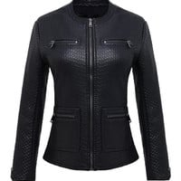 Zip Leather Coat