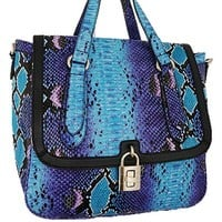 Python Snakeskin Print Satchel Messenger Style Purse w/ Shoulder Strap Blue