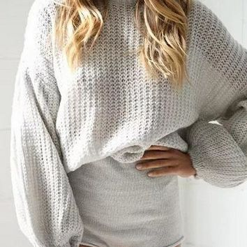 Puff Sleeve Chic Women Knit Sweater