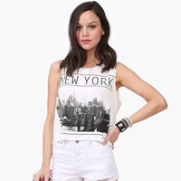 White New York Brooklyn Bridge Photo Graphic Crop Top Tank
