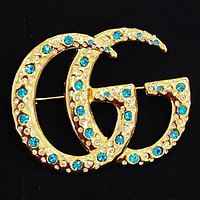 GUCCI New fashion more diamond brooch accessories Golden
