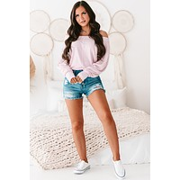 Sassy But Sweet Striped Dolman Top (Pink/Ivory)