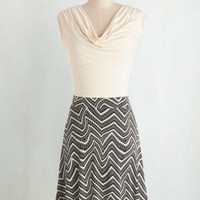 Mid-length Cap Sleeves A-line Pretty Packages Dress in Swirled Chevron