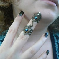Goth armor ring  double ring witch ring nail ring  claw ring Steampunk ring