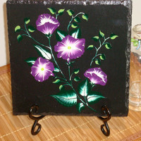 Black Trivet Spoon Rest With Bright Violet and White Flowers