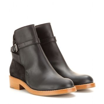 acne studios - clover suede and leather ankle boots