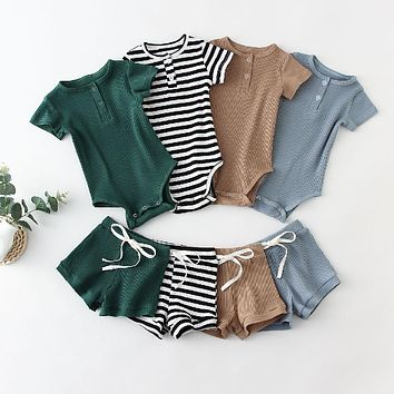 Summer Infant Baby Boys Clothes Set Knit Cotton Short Sleeve Baby Bodysuit + Pant Toddler Boy Outfits Spring Newborn Clothing