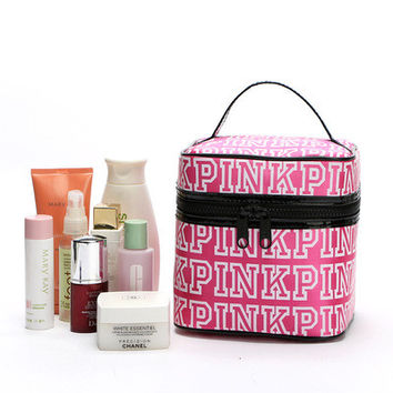 """"""" Pink  """" Printed Make Up Victoria's Secret Like Travel Cosmetic Make Up Toiletry Holder Beauty Round Zipper Wash Organizer Storage Purse Bag Monopoly Pouch Purse _ 9343"""