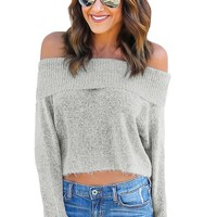 Grey Off Shoulder Faux Marten Knit Sweater