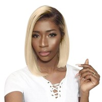 Cool Ombre Blonde 1b/613 Short Bob Wigs Lace Front Human Hair Wigs For Women Brazilian Remy Hair With Black Root 13X4 Lace Full EndAT_93_12