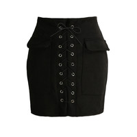 Vintage Lace Up Suede Leather High Waist Short Pencil Skirt in Black