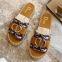 Hipgirls DIOR Hot Sale New Ladies Embroidered Letter Casual Fisherman Shoes Brown