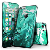Bright Trendy Green Color Swirled - 4-Piece Skin Kit for the iPhone 7 or 7 Plus