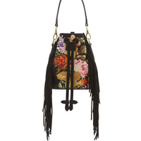 Ralph Lauren Embroidered Fringe-Trim Bucket Bag, Black