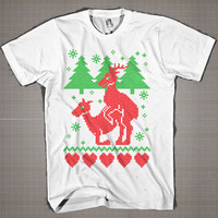 Ugly Christmas - Humping Reindeer Crew Neck  Mens and Women T-Shirt Available Color Black And White