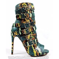 "Nelly Bernal Harmony Multi Green Snake Open Toe Strappy 4.5"" Heel Ankle Boot"