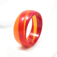 Red Orange Swirl Bangle Bracelet Chunky Thick Statement Funky Lucite Designer Vintage Costume Jewelry Runway Prop Costume Designs Retro
