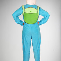 Adventure Time Finn Hooded Footed Adult Pajamas