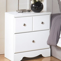 0-004681>Weeki Two Drawer Night Stand White