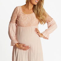 Light Pink Lace Top Bell Sleeve Maternity Tunic