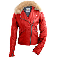 Women Red Fox Fur Biker Leather Jacket