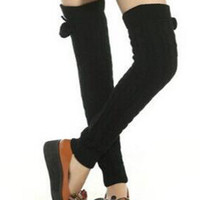 Black Fluffy Ball Knot Knitted Leg Warmers