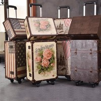 Vintage Decorative Trunk 2PCS/SET 14inch plus 20inches  Luggage Rolling Travel Bag Cosmetic Bag