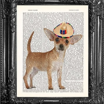 Gift Poster Chihuahua Puppy Print Mexican Sombero- Cute Gift Poster Dictionary Print-Home Dorm Wall Decor-Print On Dictionary Book Page