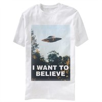 X-Files I Want To Believe Adult White T-Shirt (Adult Medium)