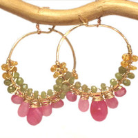 Cleopatra 113 Hoops wrapped with orange sapphire, peridot, and pink sapphire