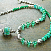 Green Amazonite necklace with Lampwork pendant and glass beads, Lampwork necklace with Green Amazonite Green gemstone necklace with lampwork