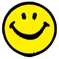 Smiley Face Iron-On Patch Yellow Circle