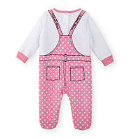 Disney Girls Minnie Mouse Pink/White Long Sleeve Polka Dot Footie