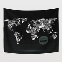 Rose Balck and White World Map Tapestry Wall Hanging Global Map Wall Decor Art for Bedroom Living Room and Dorm