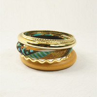 Dripping in Gold Teal Bangles