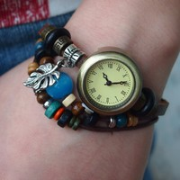 Vintage Style Leather Belt Watch with Leaf Pendant FHYD24