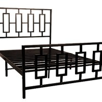 Home Source Industries 13130 Full Metal Bed Frame with Decorative Headboard and Footboard, Dark Coffee