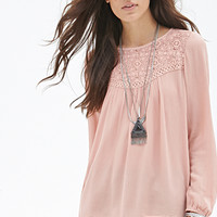 FOREVER 21 Crochet Lace Crepe Top Blush