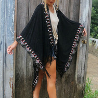 Bright Horizons Black Light Acid Wash Poncho With Southwestern Embroidered Border