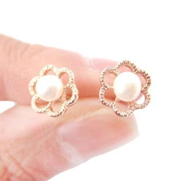 Small Floral Flower Shaped Stud Earrings in Rose Gold with Pearl Details   DOTOLY