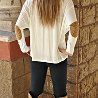 PATCH IT UP LONG SLEEVE WHITE TOP