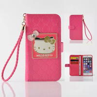 "Fashion Women Girl Lanyard Hello Kitty Flip Wallet Stand Leather Case For iPhone 6 6S 4.7"" / Plus 5.5"" With 6 Card Slots Cover"