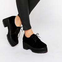 ASOS OBACA Chunky Velvet Lace Up Shoes at asos.com