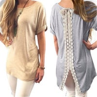 EAST KNITTING Fashion Women Summer Vest Top Short Sleeve Blouse Casual Tank Tops T-Shirt Lace Clothing