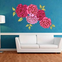 Peony Wall Decal Peony Flowers Wall Sticker Vintage Watercolor Peony Wall Stickers Floral Wall Decals cik2269