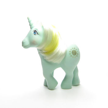 Sunbeam My Little Pony Vintage G1 Unicorn Mint Green with White & Yellow Hair, Missing Tail