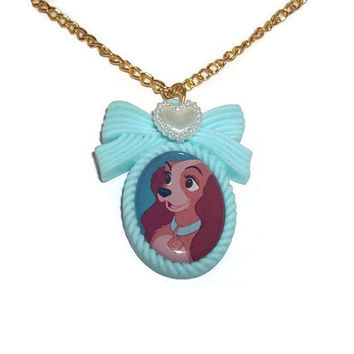 Lady Necklace, Lady and the Tramp Cameo Necklace, Classic Disney, Mint Green, Pastel Cute Kawaii