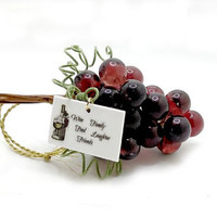 Wine Lovers Grape Glass Cluster Ornament, Holiday Entertaining and Decor, Personalized Wine Quotation Or Greeting Tag of Choice