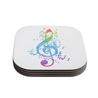 "Frederic Levy-Hadida ""Rainbow Key"" Multicolor Music Coasters (Set of 4)"